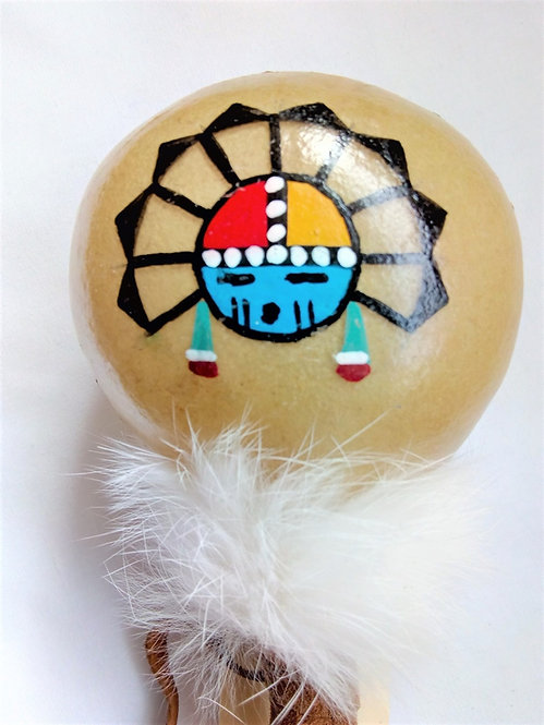 Navajo Rawhide Rattle with Sunface Design (28cm)