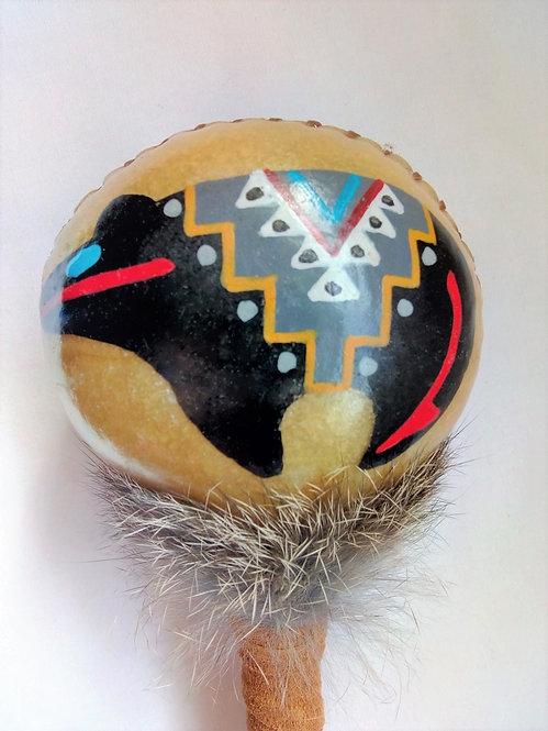 Navajo Rawhide Rattle head black Bear Design