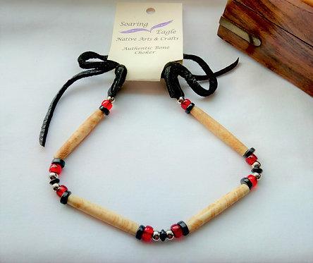 'Soaring Eagle' Native American red Bone and Deerskin 1 Row Choker