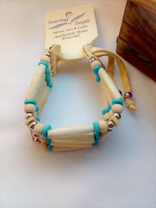 'Soaring Eagle' Native American Bone and Deerskin 4 Row Wristband turquoise