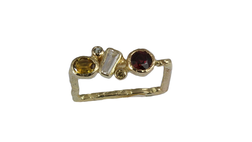 REINA gold ring with Garnet, Citrine and Sapphires
