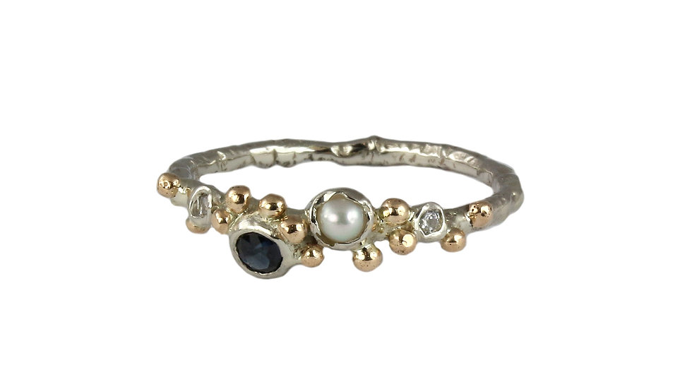 AFRODITA gold ring with Tourmaline and pearl