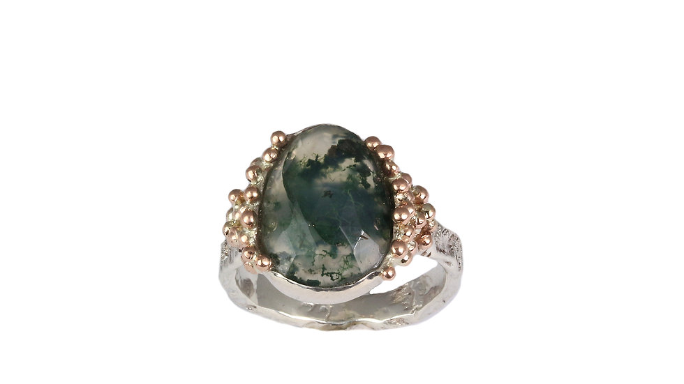 CELINE ring with rose cut Moss Agate