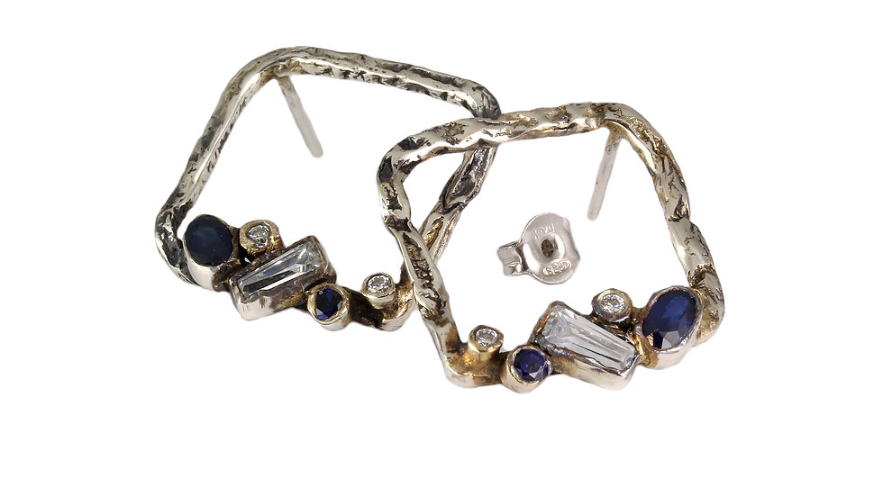 REINA silver earrings with Sapphires