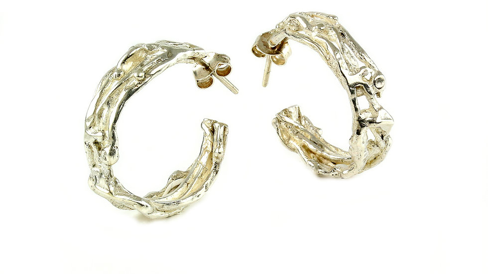 BUDOIR hoop silver earrings