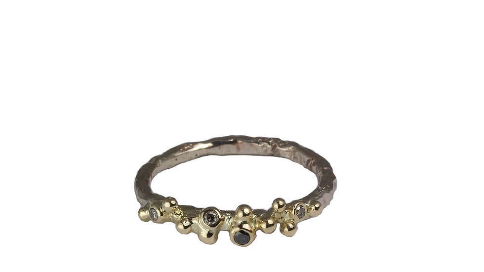 LORENA gold ring with Salt and Pepper diamond