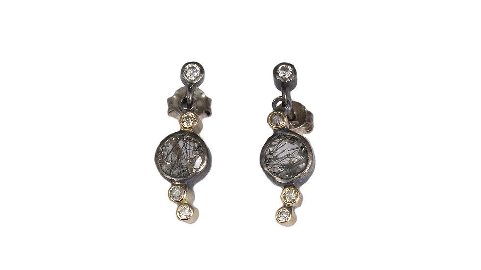 AISLINN earrings with rutilated quartz, diamonds and moissanite stones