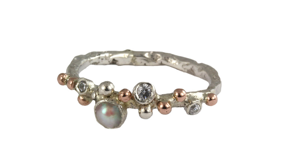 LINDA silver and gold ring with pearl