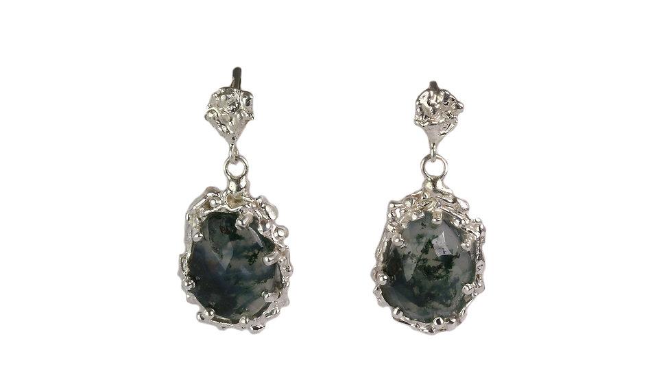 GRACE earrings with rose cut Moss Agate