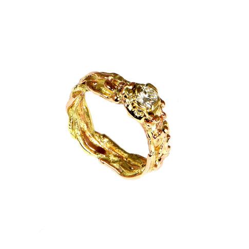 Diamond wide engagement ring