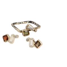 REINA ring and earrings set with Andalusite