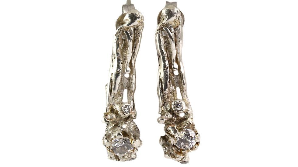 BUDOIR straight silver earrings