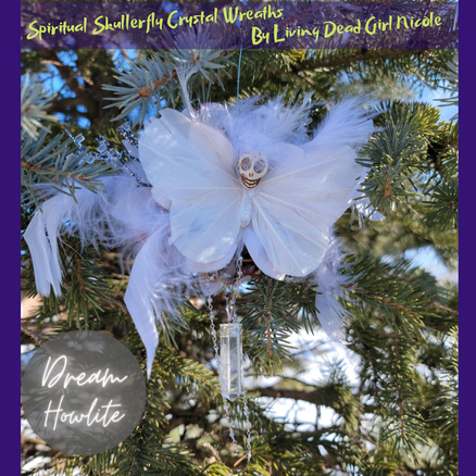 Howlite Dream Skullerfly Crystal Chakra Wreath Ornament