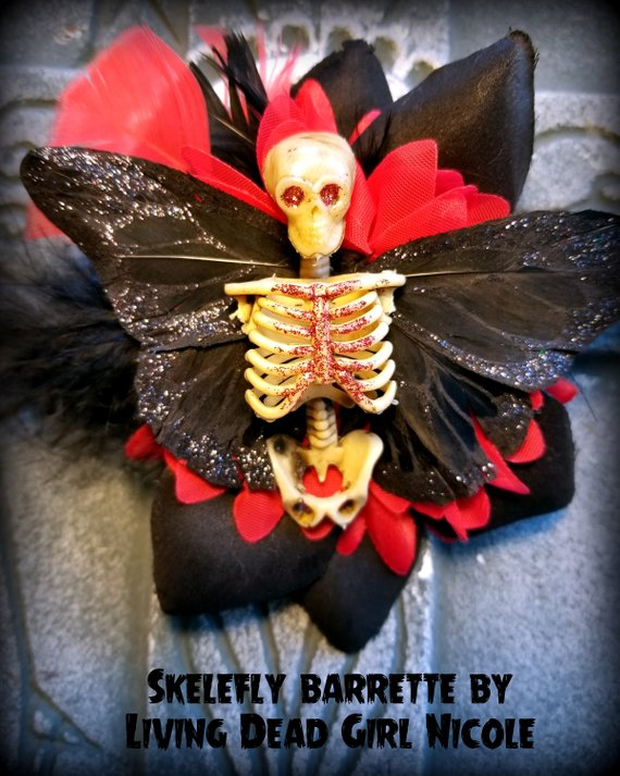 red black skelerfly barrette living dead