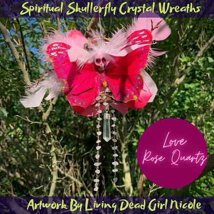 Rose Quartz Love Skullerfly Crystal Chakra Wreath Ornament