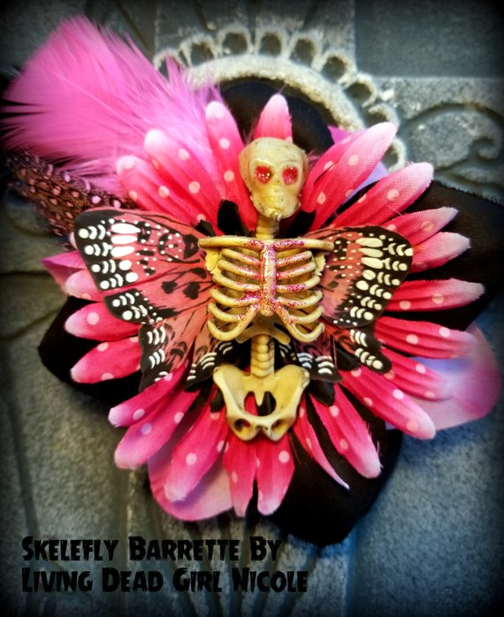 pink skelerfly barrette living dead girl