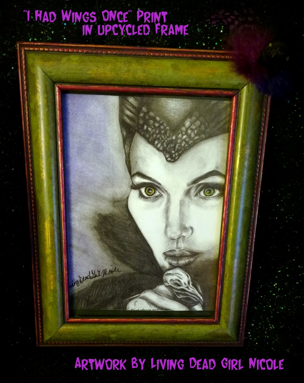 Maleficent Print In Upcycled Frame