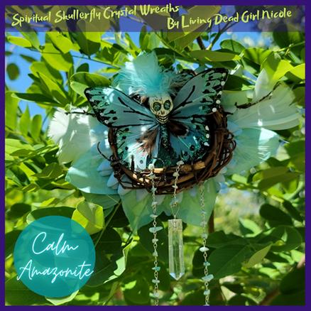 Amazonite Calm Skullerfly Crystal Chakra Wreath Ornament
