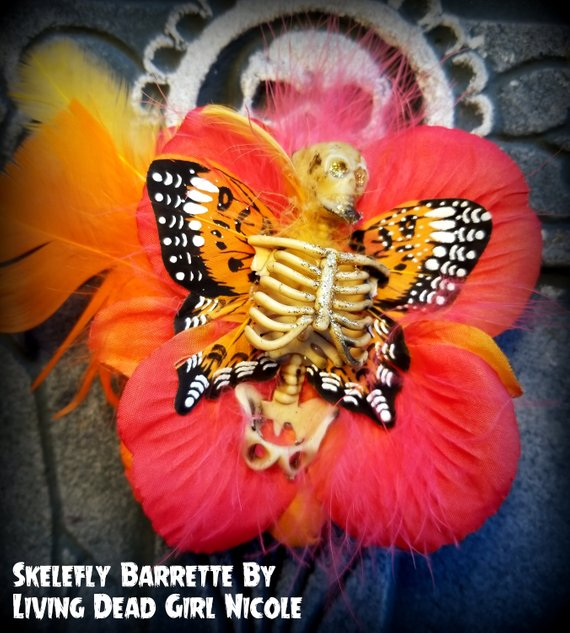 fire skelerfly barrette living dead girl