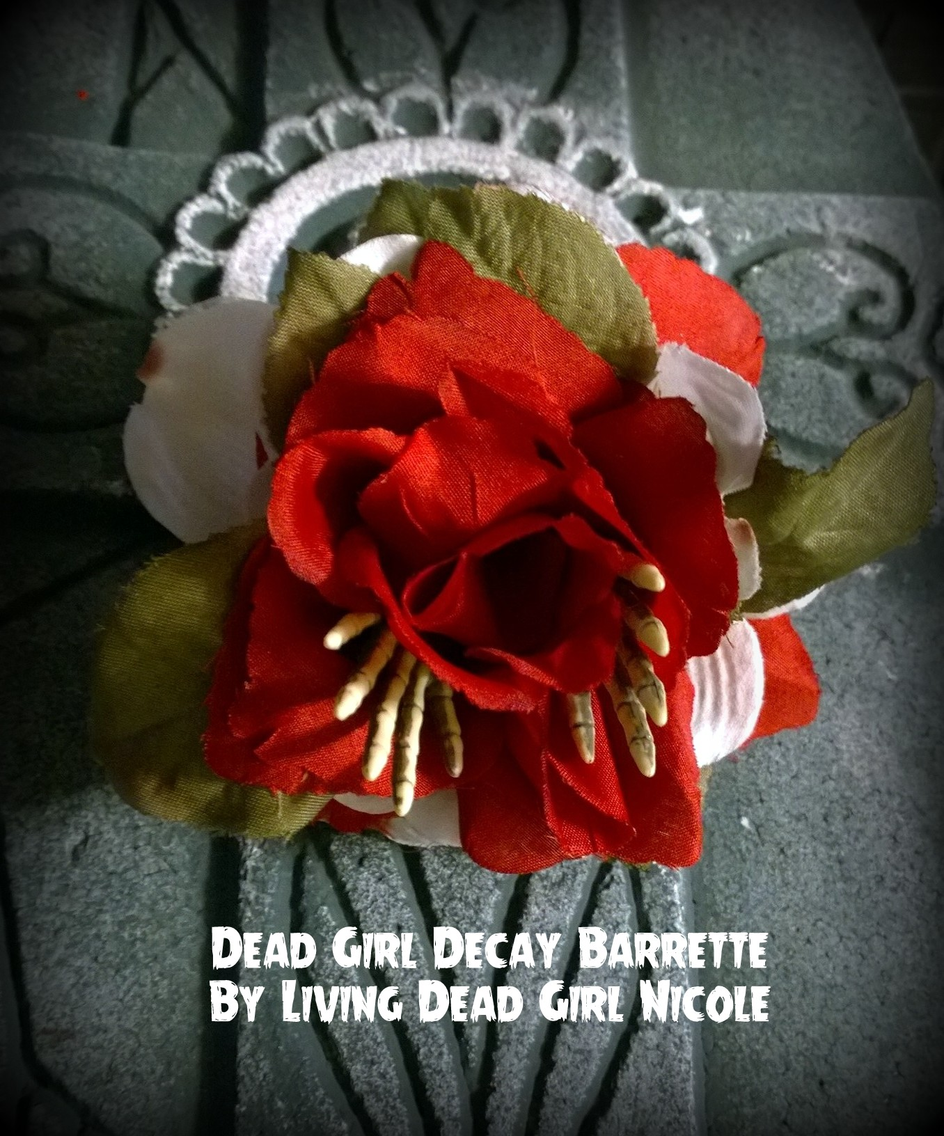 Skeleton Hand Rose Barrette