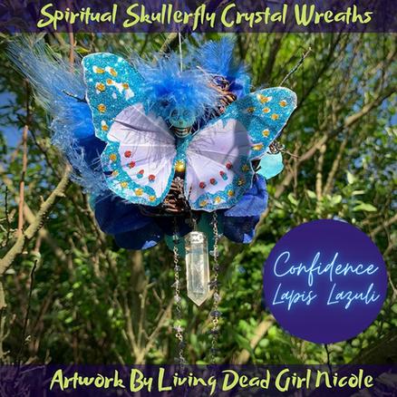 Lapis Lazuli Confidence Skullerfly Crystal Chakra Wreath Ornamentg