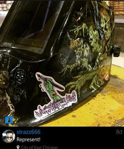 Logo Sticker on Welder Helmet