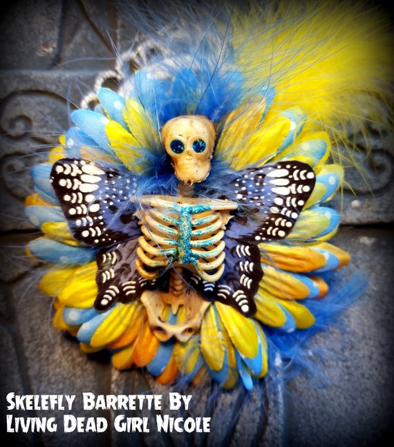 blue skelerfly barrette living dead girl
