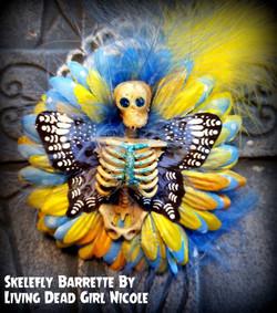 blue skelerfly barrette living dead girl