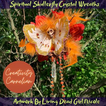 Carnelian Creativity Skullerfly Crystal Chakra Wreath Ornament