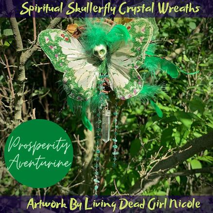 Aventurine Prosperity Skullerfly Crystal Chakra Wreath Ornament