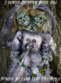 2 Headed Zombie Bride Doll Close Up