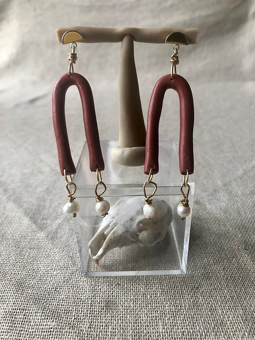 Terracotta Polymer Clay & Pearl Earrings