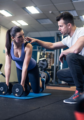 Woman weight training
