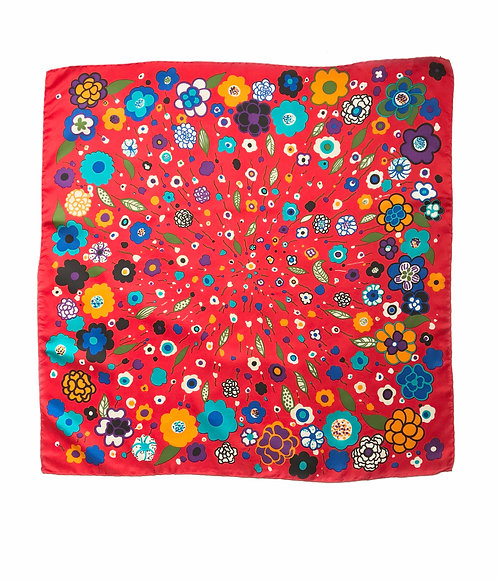 Red Floral 80's Silk Scarf