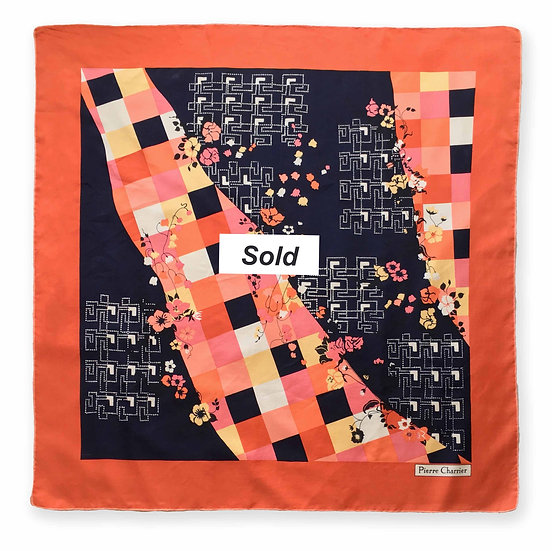 Large 1970's Coral + Navy Silk Scarf