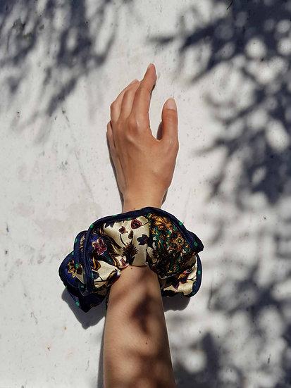 Creamy Floral Scrunchie