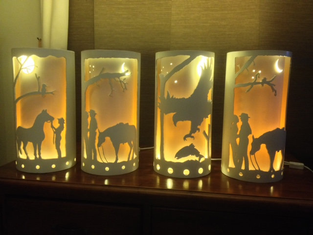 Hand Carved Lamps 25cm dia x 50cm tall