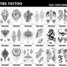 03-227-33 Татуировка-наклейка(12х19)Черно-белые рисунки микс