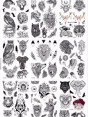 03-227-72 Татуировка-наклейка (16.5х23) Черно-белые животные