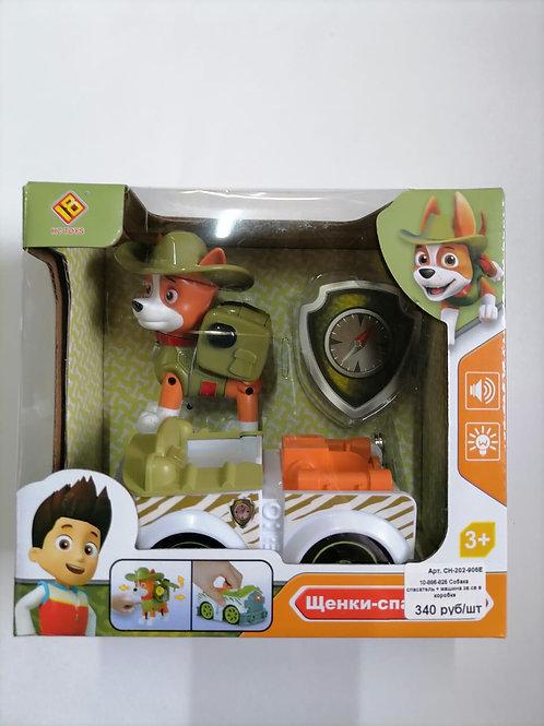 10-886-825 Собака спасатель + машина зв.св в коробке