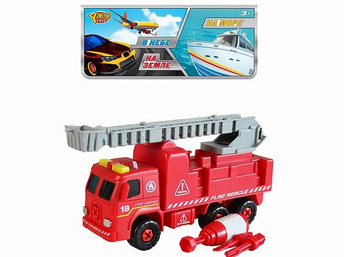 03-023-1 Машинка-конструктор 20 см Пожарная с лестницей