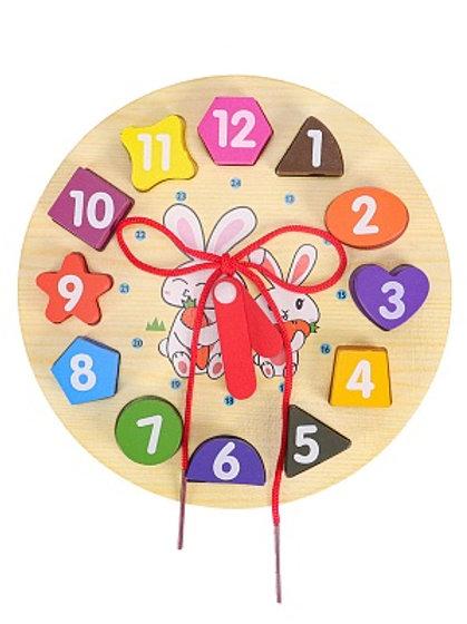 03-785-7 Деревянная игрушка(19х19х2)Часы -сортер