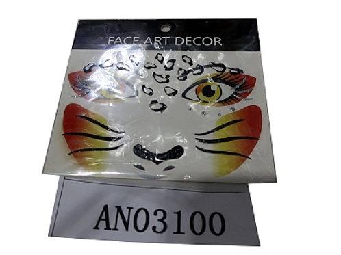 03-227-2 Татуировка-наклейка (12.5х11.5см)ЛЕОПАРД(набор 12шт