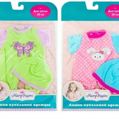 25-311-51 Одежда для куклы 30см. комбинезон  с шапочкой. в а
