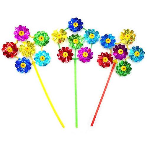 14-249-47 Вертушка Цветы диам. 17см. голограм.. цвет в ассор