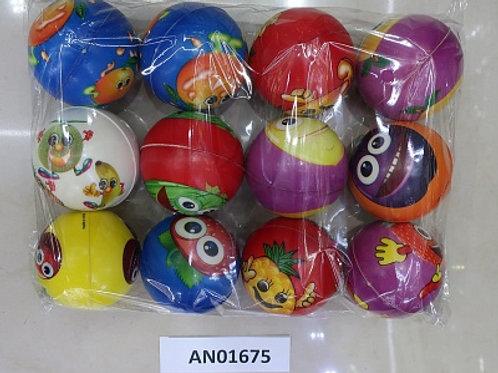 10-978-43 Мяч мягкий ППУ 7.6 см Фрукты (12 шт. в упаковке)