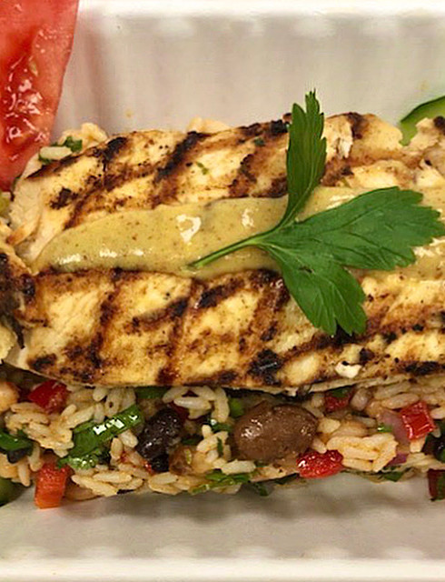 Grilled Mustard Chicken over Warm Mixed Bean & Rice Salad