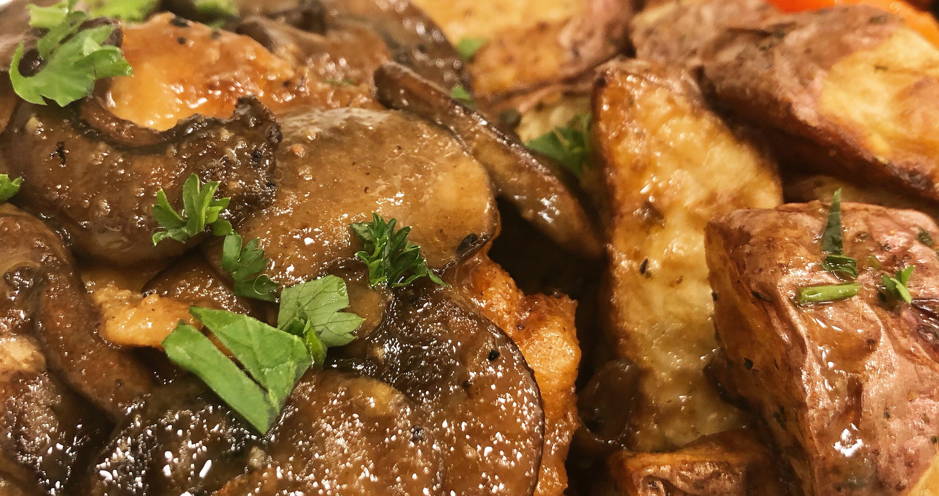 Chicken Marsala with Herb Roasted Potatoes and Vegetables