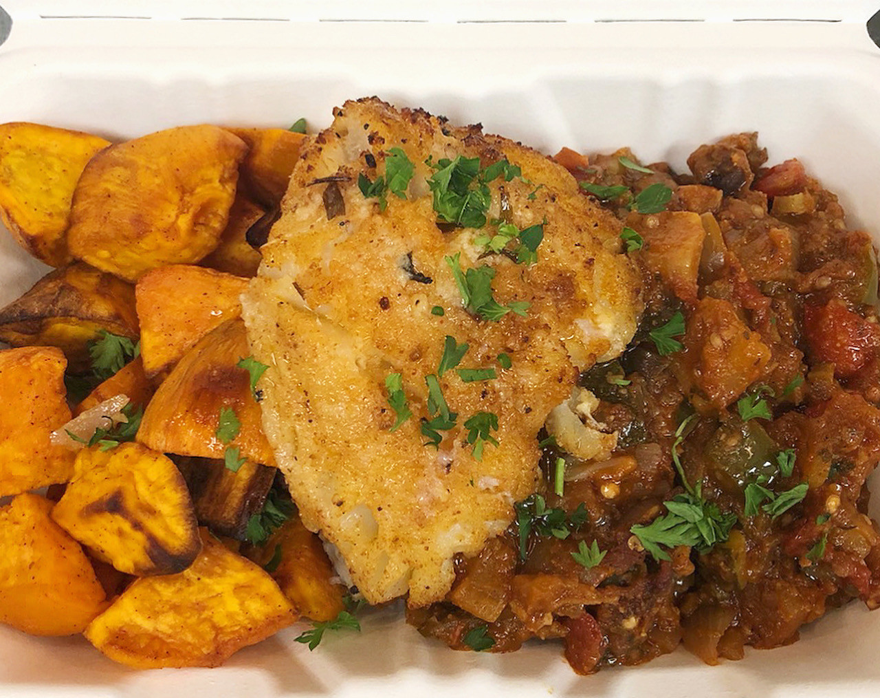 Rustic Ratatouille with Roasted Sweet Potatoes and Seasoned Cod Fillet