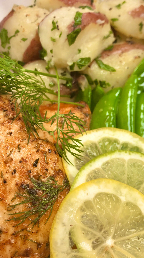 Dill Salmon with Multi-Grain Pilaf and Herb Vegetables